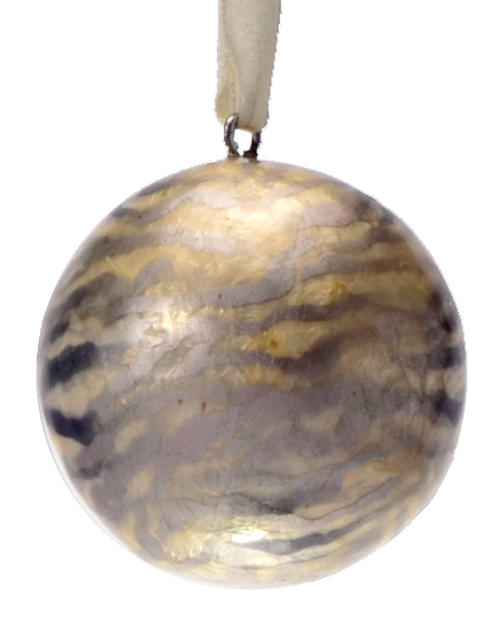 Stripes Safari Hand Made Painted Capiz Christmas Ornament