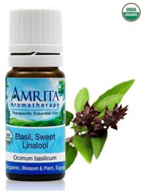 Amrita Aromatherapy Basil, Sweet Linalol Organic Essential Oil 10 ml
