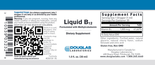 Douglas Labs Liquid B12 with Methylcobalamin 30 ML