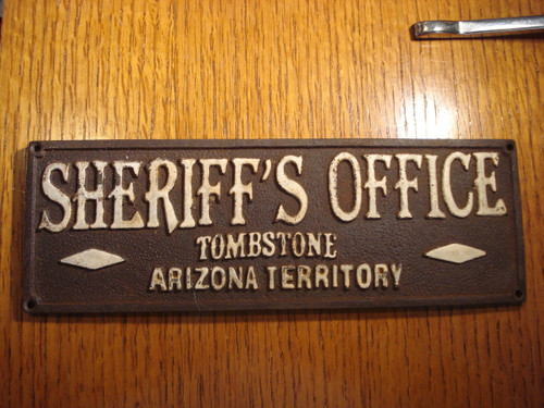 Sheriff's Office Tombstone Western Plaque