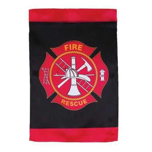 Fire Rescue Lustre Garden Flag