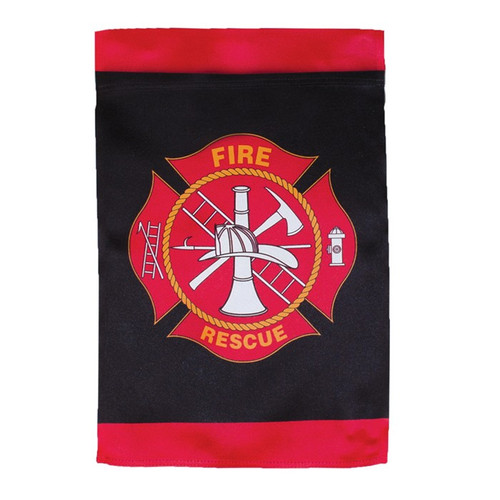 Fire Rescue Lustre Garden Flag