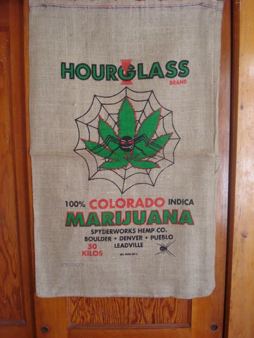 Hourglass Brand Colorado Marijuana Burlap Bag