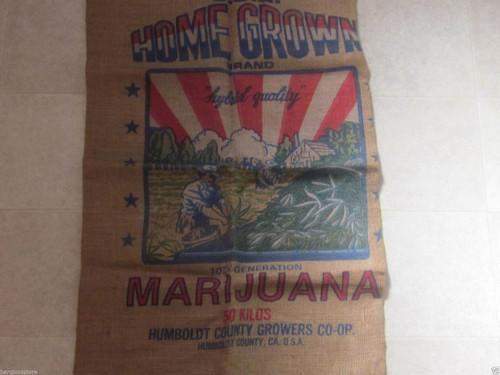 Home Grown Brand Marijuana Burlap Bag