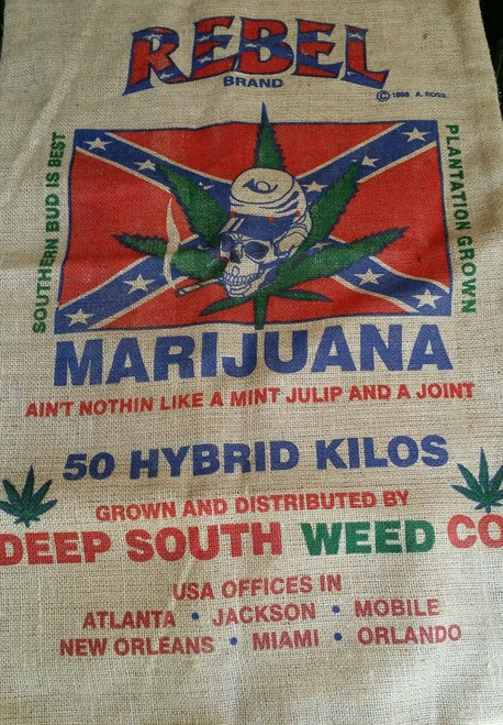 Rebel Deep South Weed Co. Marijuana Burlap Bag