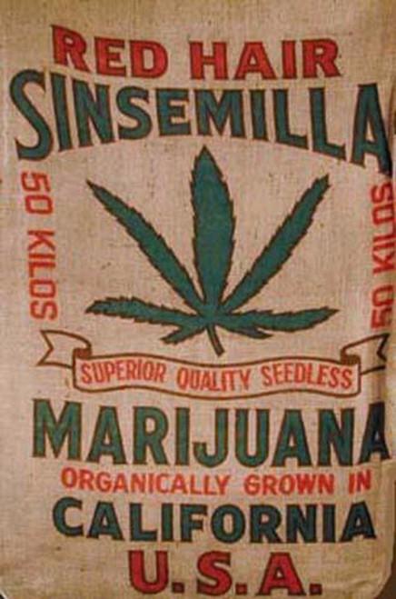 Red Hair Sensemilla Brand Cannabis Marijuana Burlap Bag