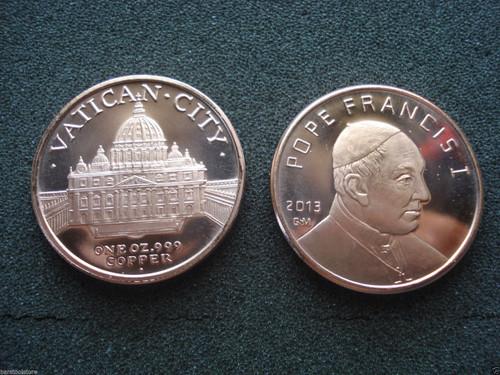 Pope Francis Copper Round 1 oz .999 Fine