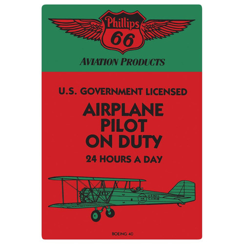 Airplane Pilot on Duty Tin Sign
