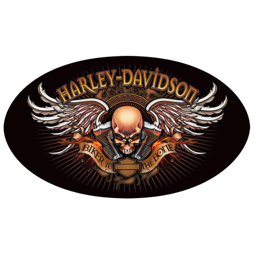 H-D® Biker to the Bone Oval Die-Cut and Embossed Tin Sign