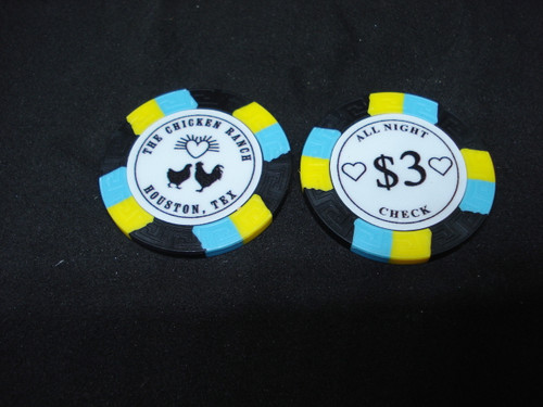 The Chicken Ranch Houston Texas Brothel Collectors Poker Chip Cathouse Whore House Black