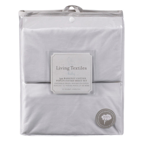 Living Textiles Premium Cotton Poplin Fitted Sheet 2 Pack|White