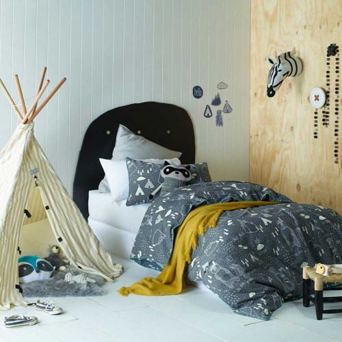 In the Woods Quilt Cover & Pillowcase Set by Jiggle and Giggle Grey