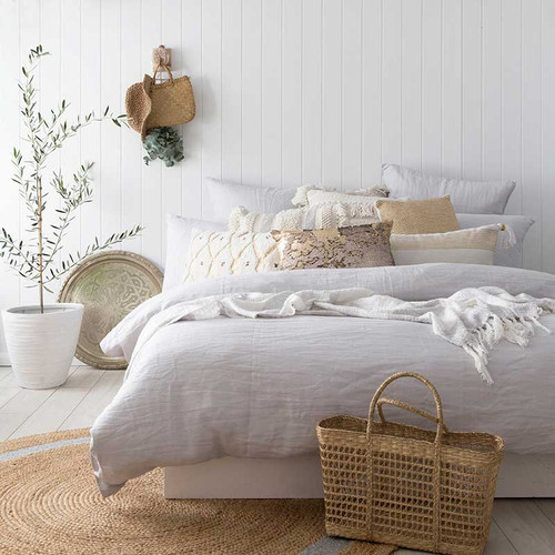 French Linen Quilt Cover Set by Bambury|Silver