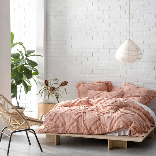 Adalyn Peach Quilt Cover & Pillowcase Set by Linen House 