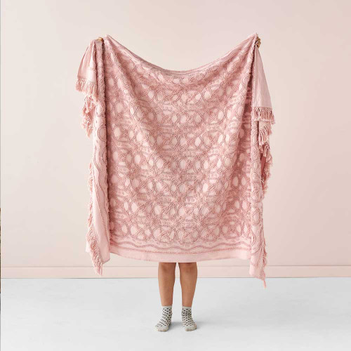 Somers Rose Throw by Linen House|Rose
