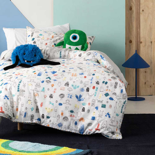 Little Monsters Quilt Cover & Pillowcase Set by Hiccups|