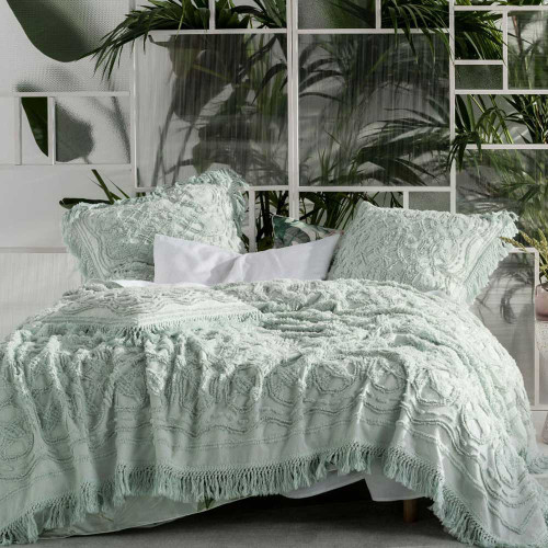 Somers Mint Bed Cover by Linen House|