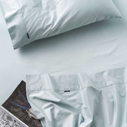 Augusta Pale Blue Sheet Set by Linen House|