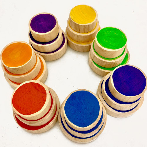 Wooden Rainbow Coins 21 piece set by Papoose Toys