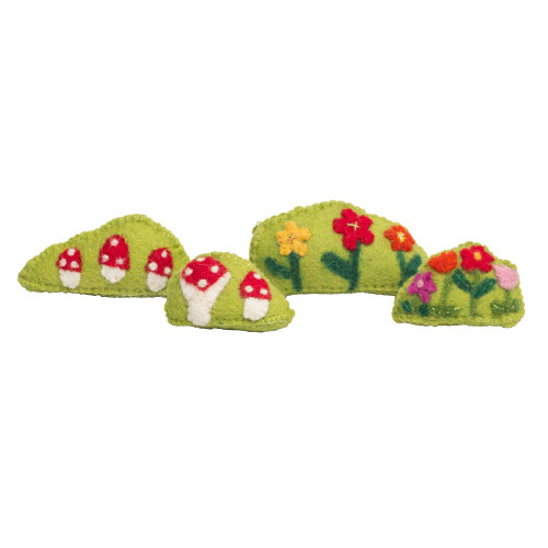 Wool felt Embroidered Bushes  Flower/Toadstool by Papoose Toys