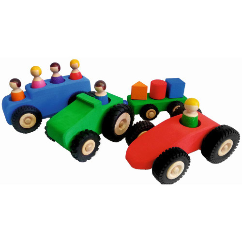 Large Vehicles and People - 13 piece | Bauspiel