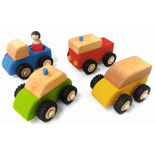 Small Vehicle Set and 1 Person - 5 piece Set   Bauspiel