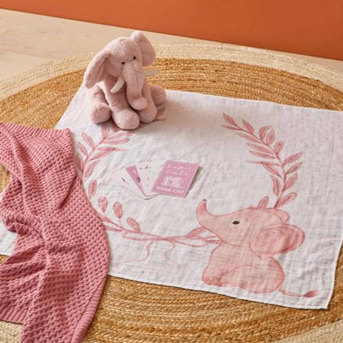 Pink Elephant Milestone Blanket
