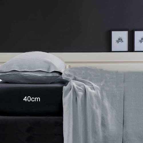 400TC Egyptian Cotton Plain Dye Fitted Sheet | Single Bed Extra Long | Granite | Platinum Collection