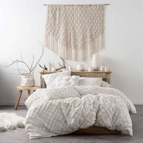 Sanura White Quilt Cover & Pillowcase Set by Linen House|