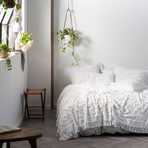 Somers White Bed Cover by Linen House White