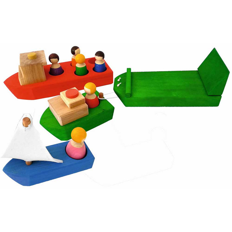 Wooden Ships 10pc Set by Papoose Toys|