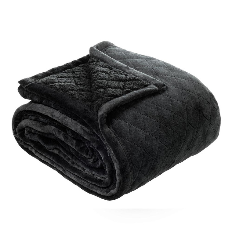 Mansfield Sherpa Charcoal Blanket by Bianca|