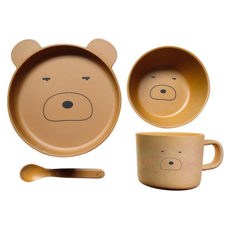 BambooWare Kids 4 PC Dining Set - Bear | Pilbeam