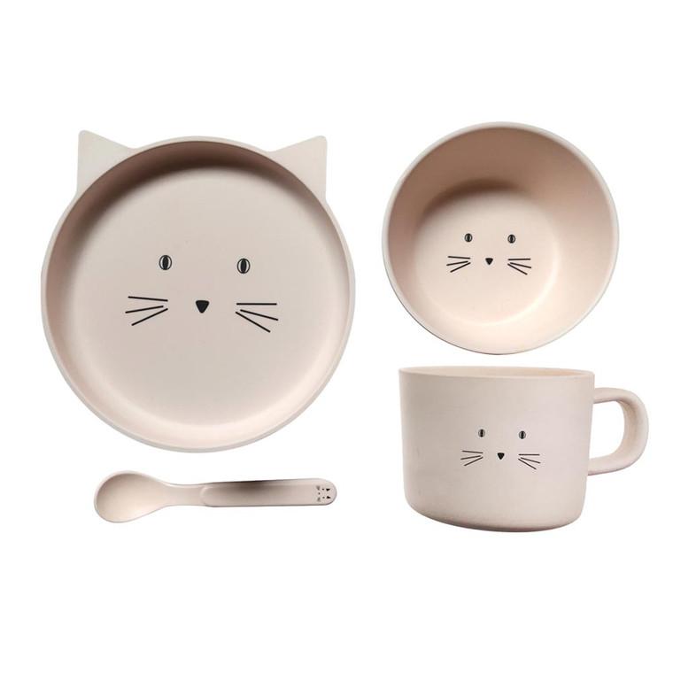BambooWare Kids 4 PC Dining Set - Kitten   Pilbeams