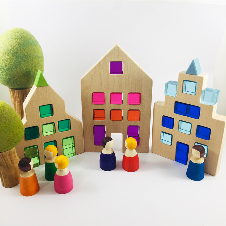 Papoose Toys Dutch Houses with Lucites and Little People
