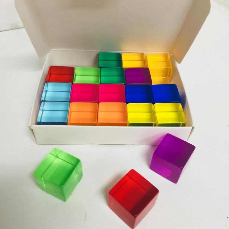 20 piece Lucite Cubes Bauspiel - new colours