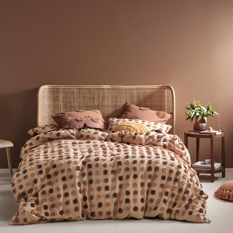 Haze Pecan Quilt Cover Set | Linen House