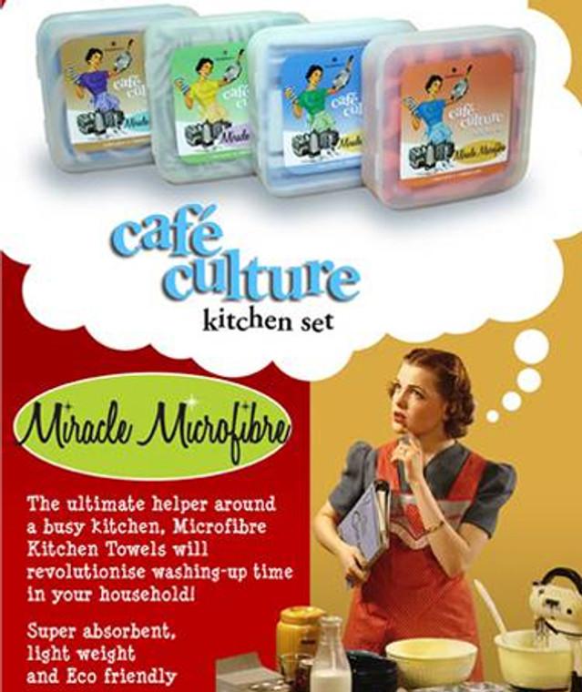 Bambury Cafe Culture Kitchen Towel Set with scourer