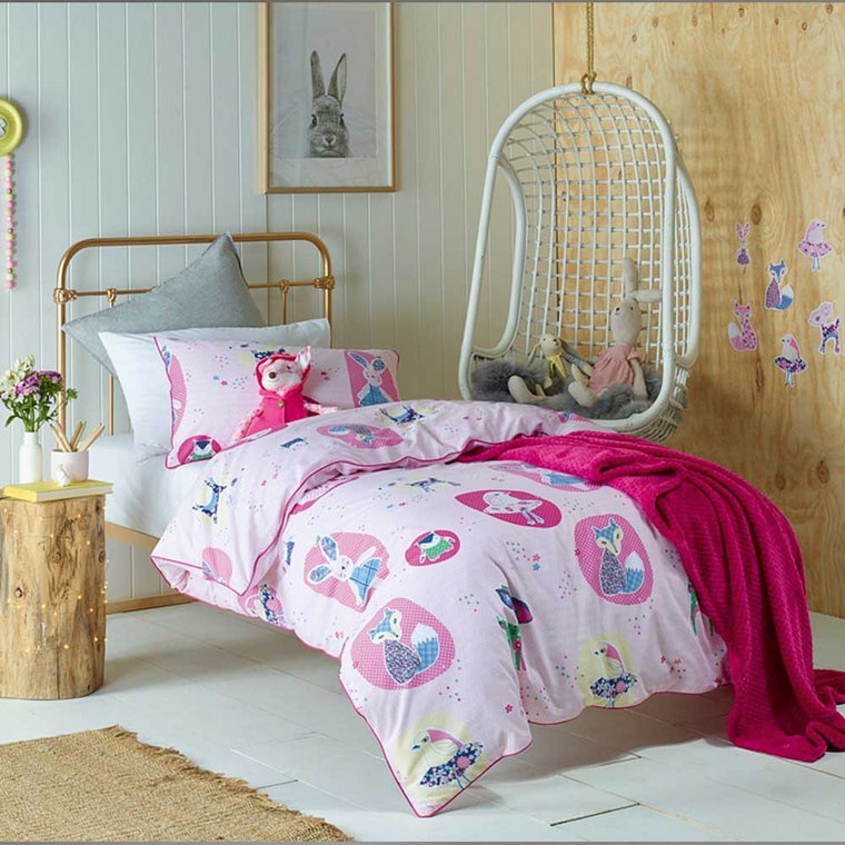 Forest Friends Quilt Cover & Pillowcase Set by Jiggle and Giggle|Pink