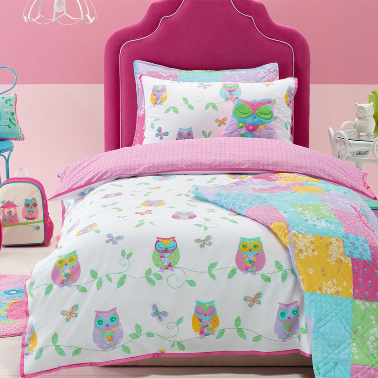 Jiggle and Giggle Owl Song Quilt Cover & Pillowcase Set|