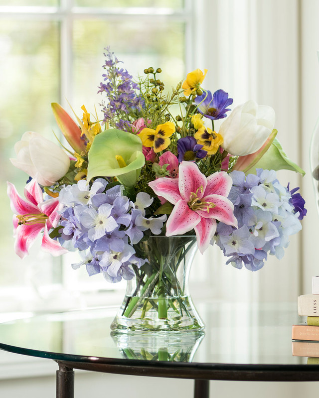 Calla Lily, Tulip & Lily Silk Flower Centerpiece