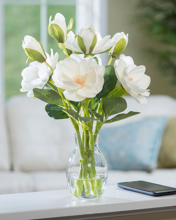 White silk magnolia accent set in clear acrylic water