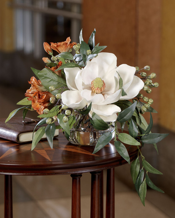 Southern Charm Silk Flower Arrangement, magnolia bloom, rust colored alstromeria, green garbanzo beans and smilax leaves