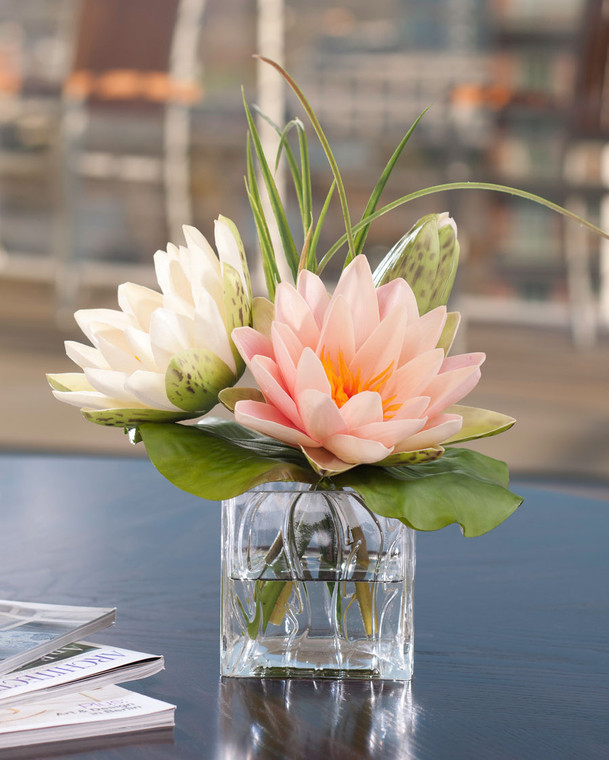 lotus blossom & lily pad silk flower arrangement, peach and cream lotus blooms, natural colors of water lilies, in glass cube