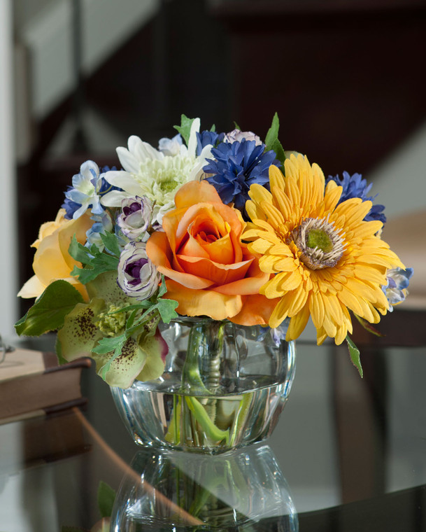Yellow and blue gerbera daisy, rose and cornflower silk accent in tapered square glass vase