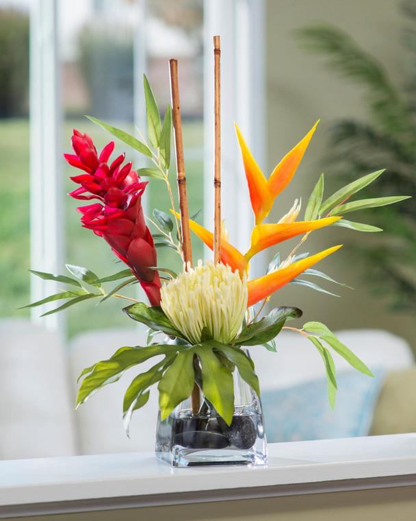 Protea & Torch Ginger Accent Silk Flower Arrangement