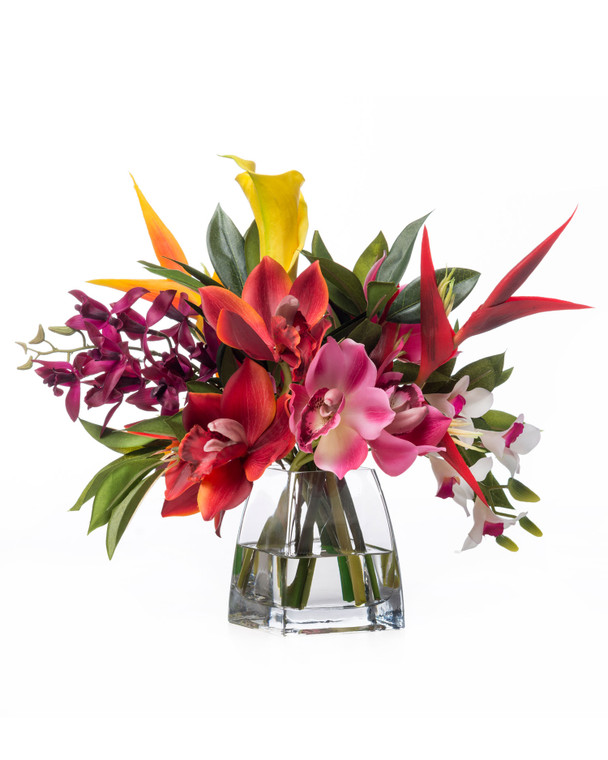 Orchids & Heliconia Tropical Silk Arrangement