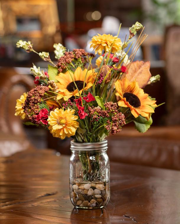 Sunflower & Zinnia Artificial Autumn Accent