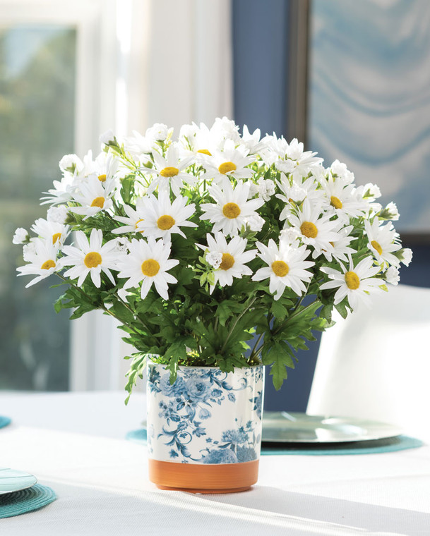 Greenhouse Daisy Bush<br>Faux Flower Accent