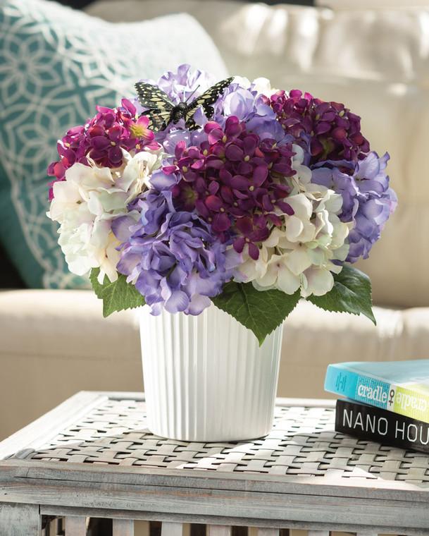 Hydrangeas & Butterfly<br>Faux Flower Nosegay